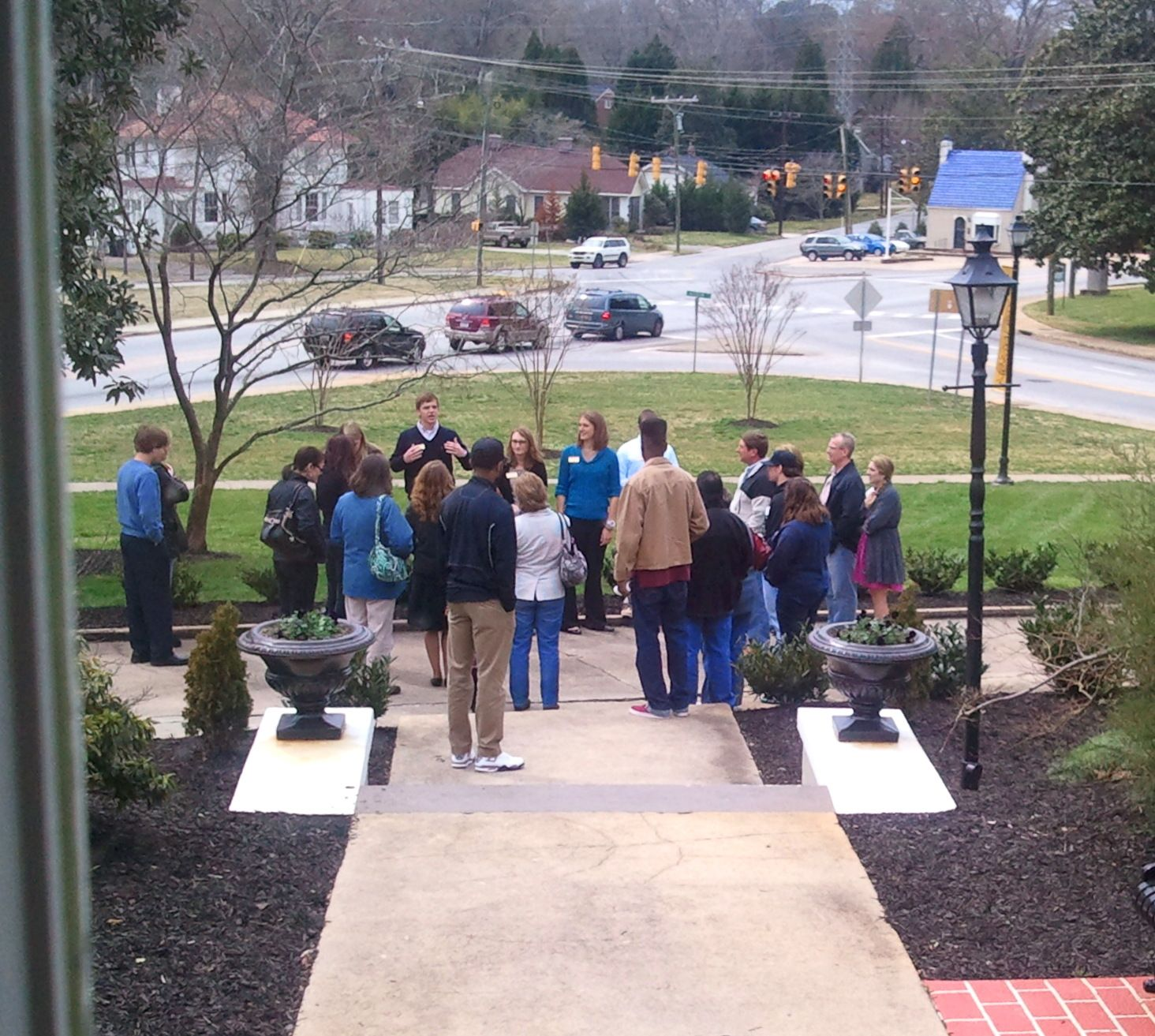 The beginning of a tour, right outside of the Admissions