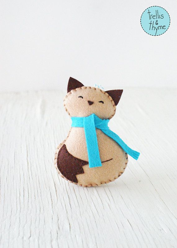 PDF Pattern - Cozy Kitty, Winter Felt Ornament Pattern, Christmas ...