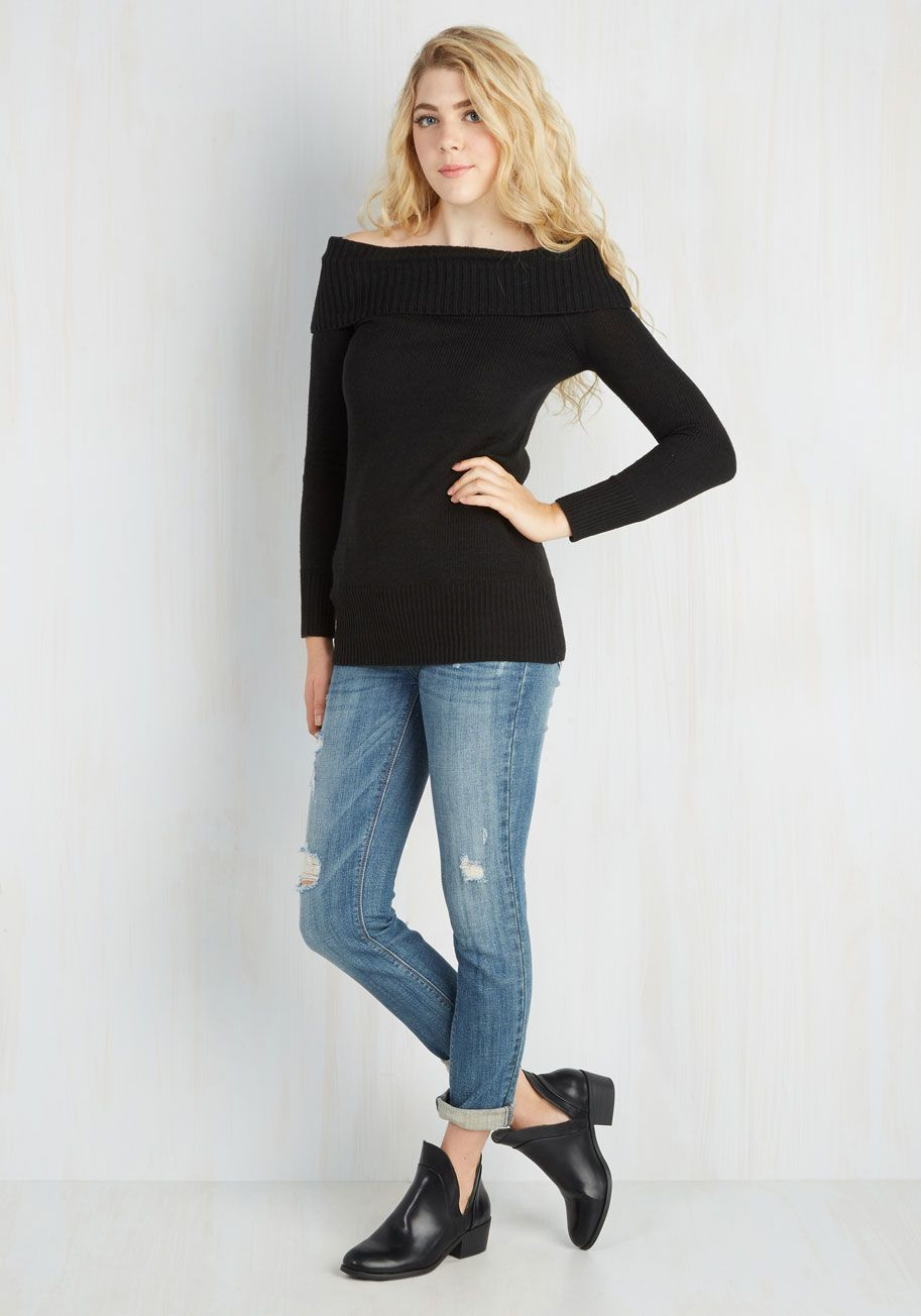 Timeless Temptation Top in Noir. With a vintage-inspired flair you cant resist, this sweater will quickly become your most coveted staple! #black #modcloth