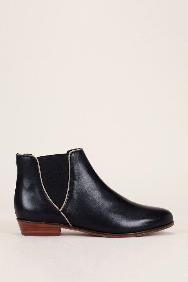 bobbies bottines noire dorée