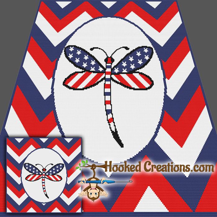 American Dragonfly SC Throw Blanket Crochet Pattern