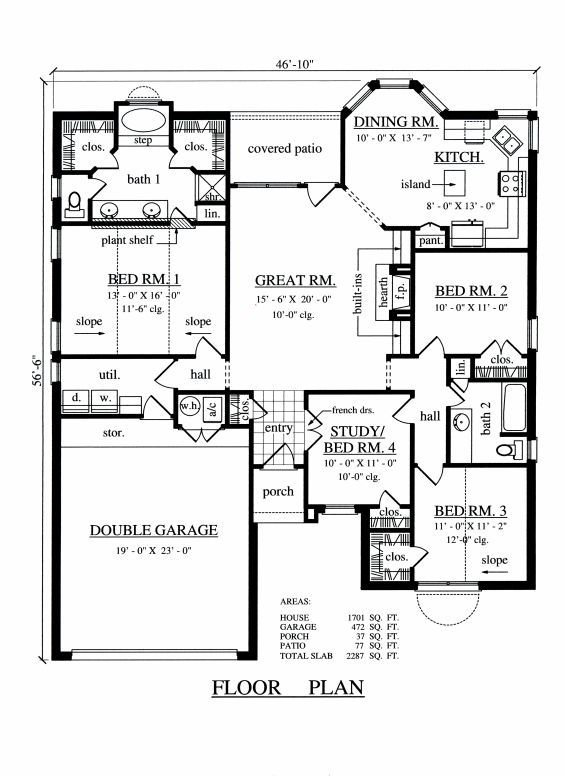 4 Bedroom 2 Bathroom Floor Plans Beach House Floor Plans