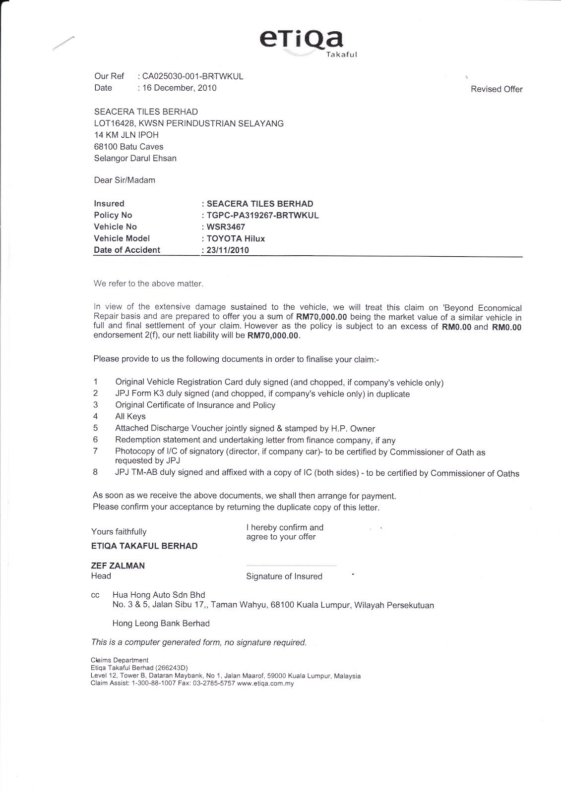Car Accident Demand Letter Claim Templates Free Sample Example