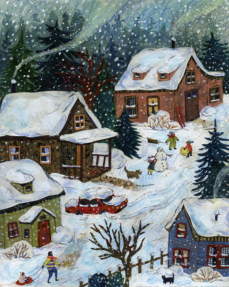 Christmas house with snow art -  Snow Day A Piece I Created For December In Taproot Magazine S 2014 Wall Calendar Christmas Artwhimsical