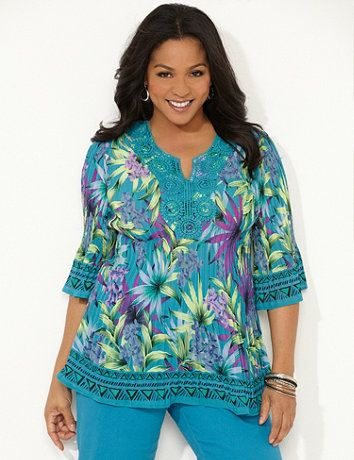 392fc3ecef Tropical Pleasted Blouse  Spice up your wardrobe with this bright tunic in a  tropical summer