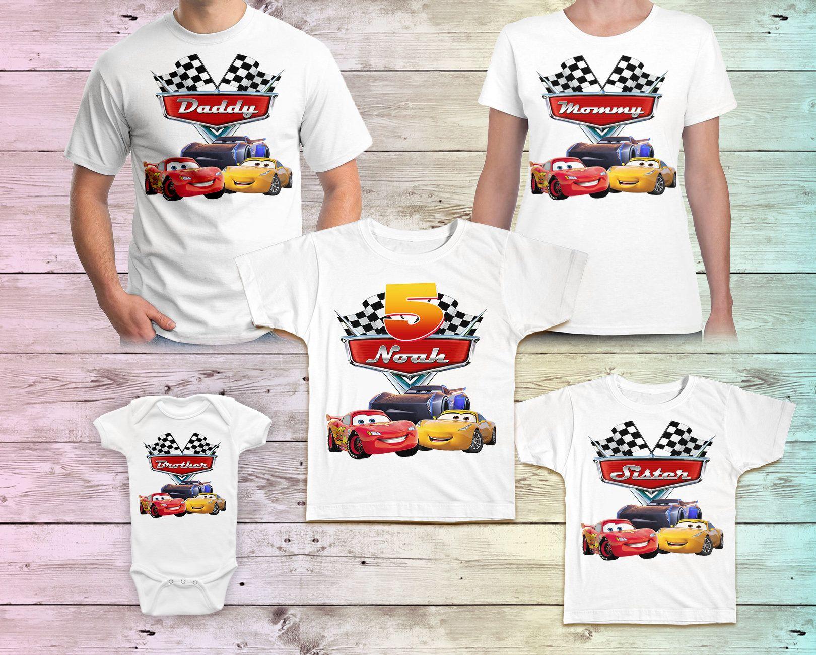 LightingMcQueen Birthday T-shirts Disney Cars Birthday Family matching T-shirts