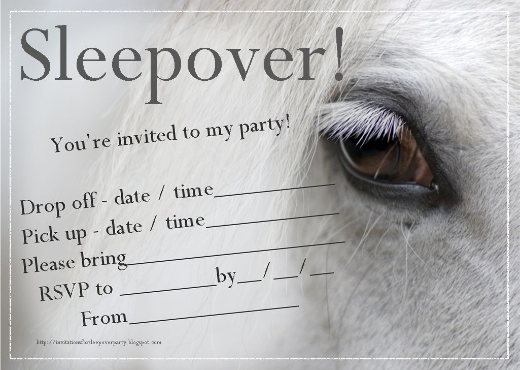 Invitations for sleepover party horse sleepover invitation free free printable sleepover party invitations hundreds of slumber party invitations sorted into categories for both boys and girls filmwisefo Image collections