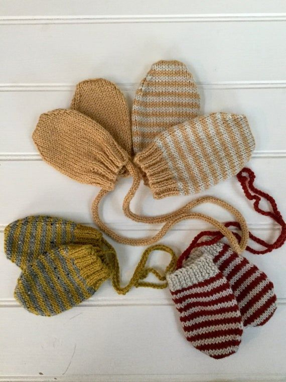 Photo of Knitted baby mittens/striped baby mittens/knitted baby gloves/unisex mittens/baby shower gift/newborn/baby mittens/hand knit mittens