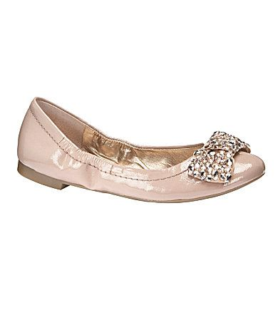 Adorbs! Shiny pale pink flat with a jewel-embellished bow