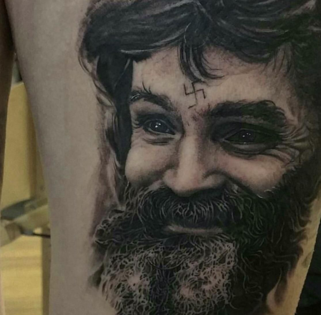 This Charles Manson tattoo that my artist did a couple years