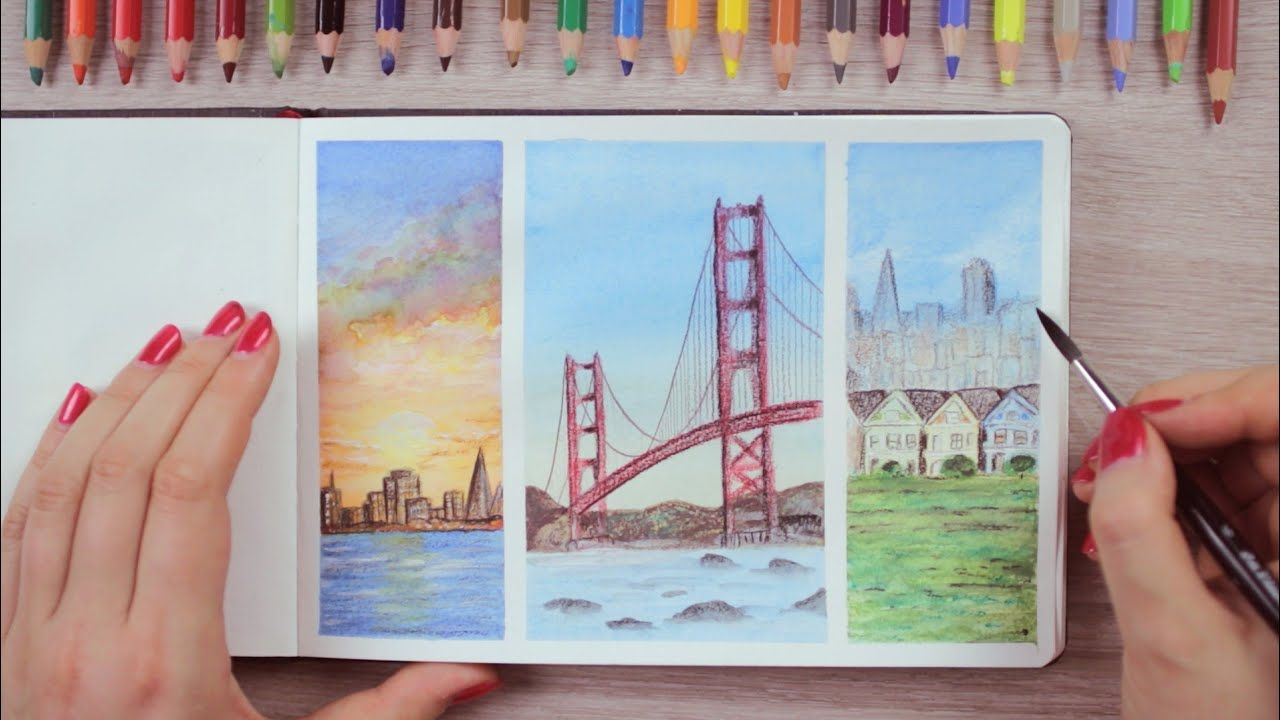 Watercolor Pencils Painting Ideas San Francisco Inspired Art Journal Thursday Ep 4 Watercolor Pencils Techniques Watercolor Pencils Tree Watercolor Painting