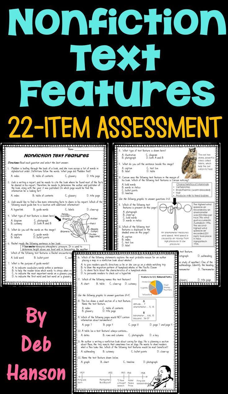 Nonfiction Text Feature Assessment Or Worksheet Nonfiction Text Features Nonfiction Texts Text Features