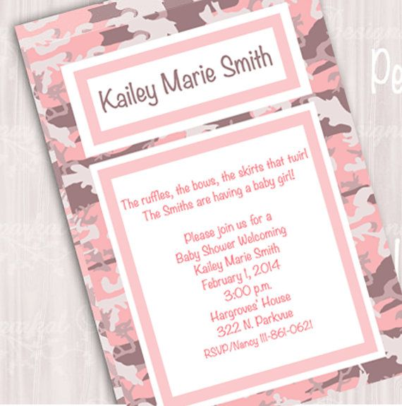Now Free Template Pink Camo Baby Shower Invitations