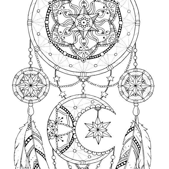 Dreamcatcher coloring pages, Adult coloring book printable