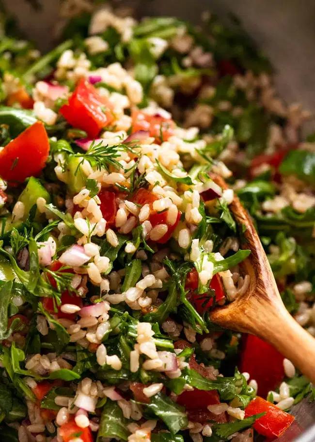 Mediterranean Brown Rice Salad Recipe Brown Rice Salad Rice Salad Brown Rice Cooking