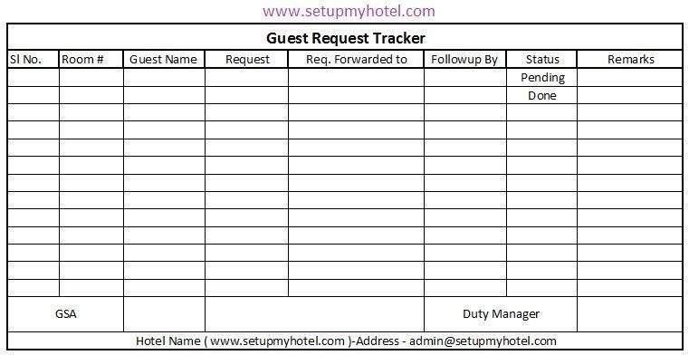 Front Desk Guest Request Tracker Format Guest Hotel Guest