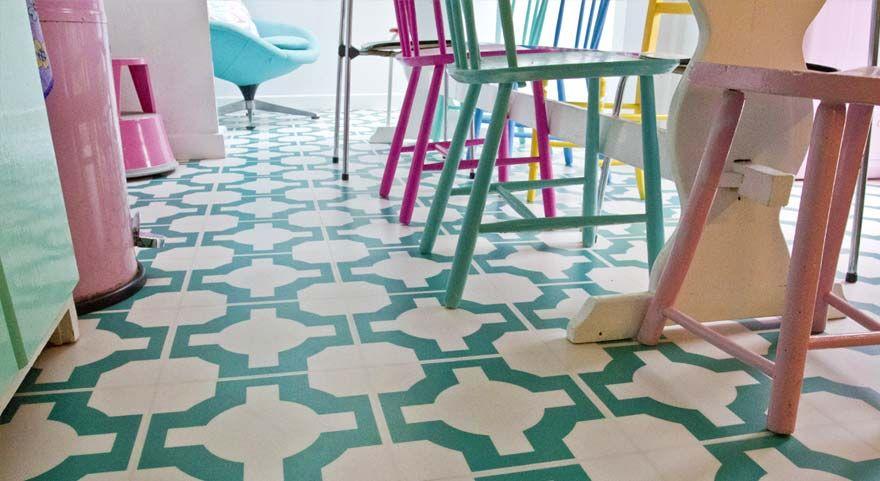 Designer Kitchen Vinyl Floor In Turquoise Colour Floors