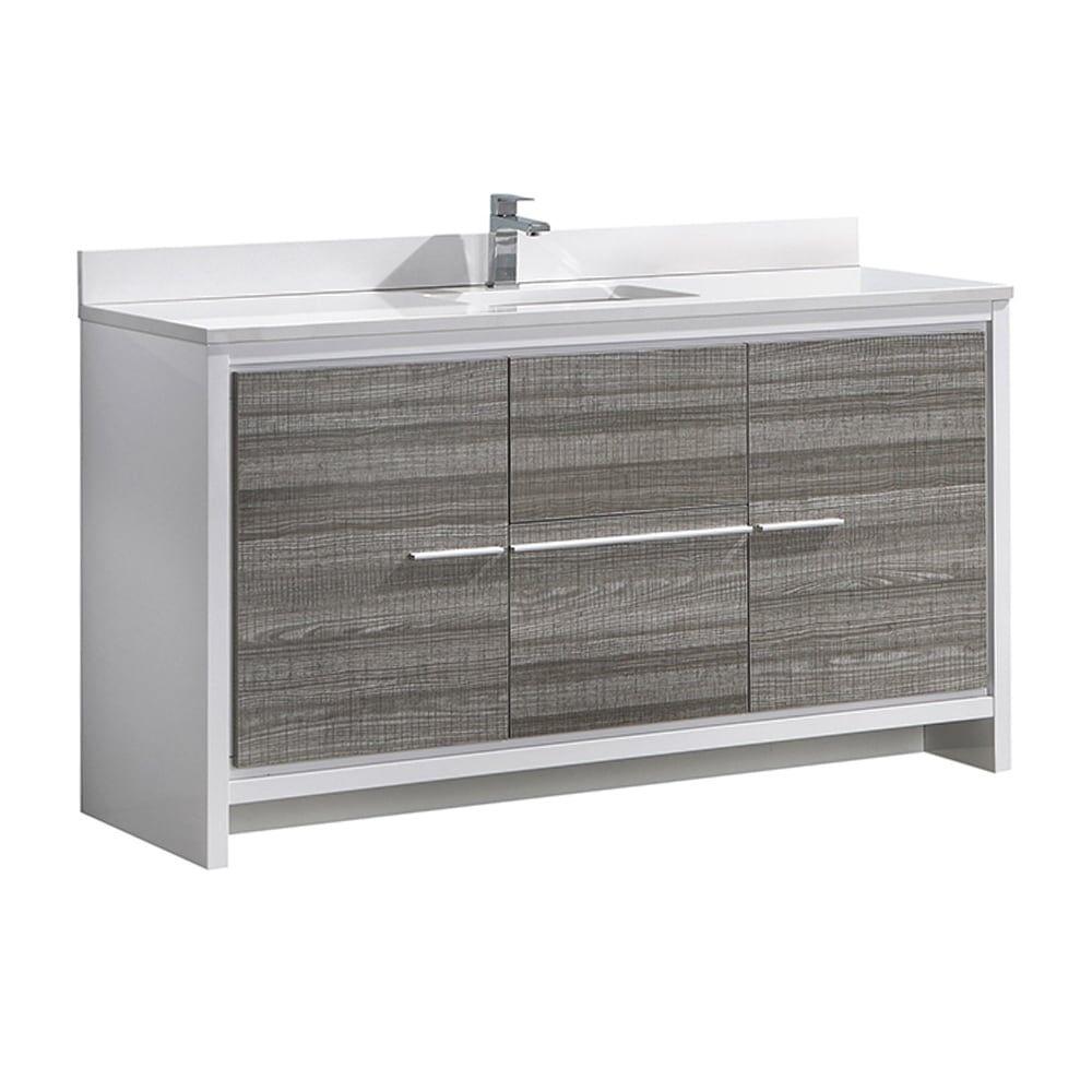 Fresca Allier Rio 60 Ash Gray Single Sink Modern Bathroom Vanity