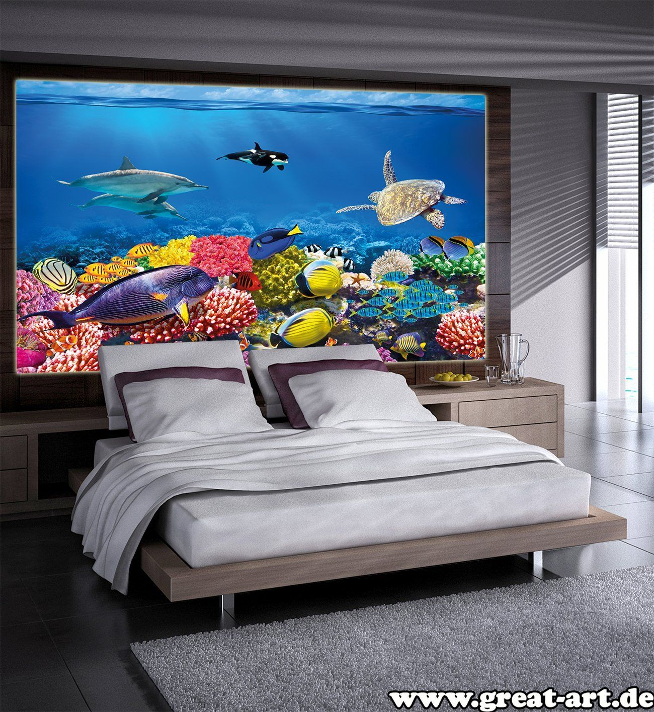 poster kinderzimmer aquarium wandbild dekoration unterwasserwelt meeresbewohner ozean fische. Black Bedroom Furniture Sets. Home Design Ideas