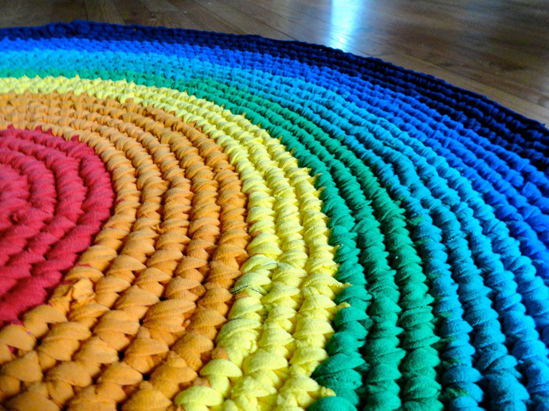 Rainbow Recycled Tshirt Rag Rug Crocheted By Handmademichelle Crochet Rag Rug Rag Rug Crochet Rug