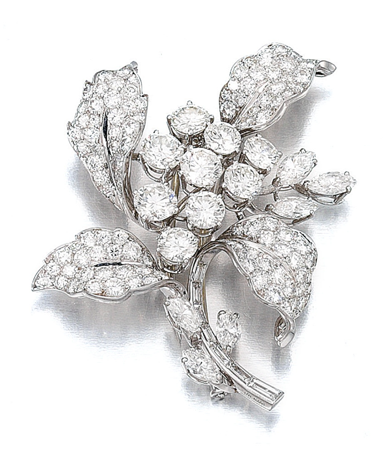 Diamond brooch, Bulgari - Sotheby's.  Of foliate design, set with brilliant- cut, marquise-shaped and baguette diamonds, signed Bulgari.