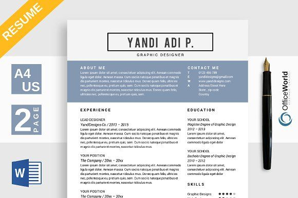 Alexandria Resume / CV MS Word by OfficeWorld on @creativemarket