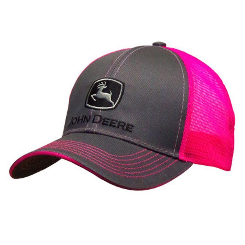 John Deere Womens Charcoal And Neon Pink Cap  f5310c6fed78