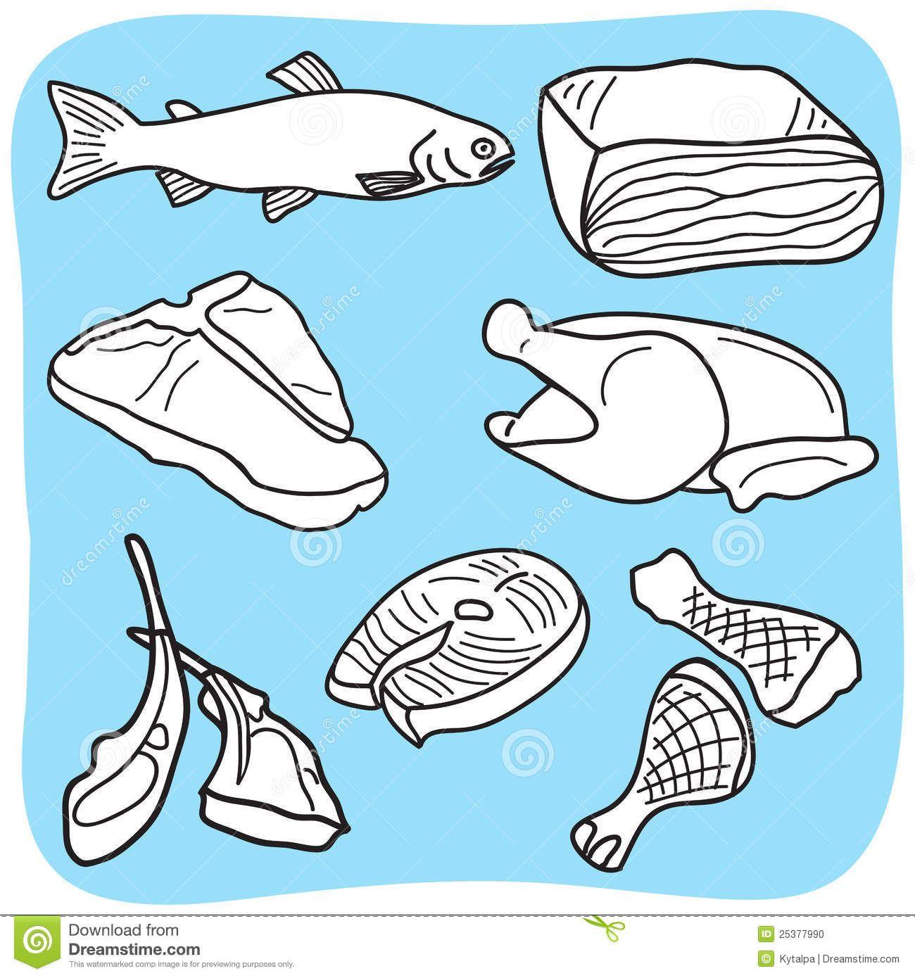 Illustratie Van Vlees Vissen En Gevogelte 1