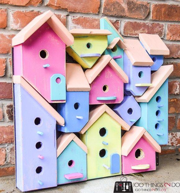Wood Art Challenge Birdhouse Collage Scrap Wood Projects