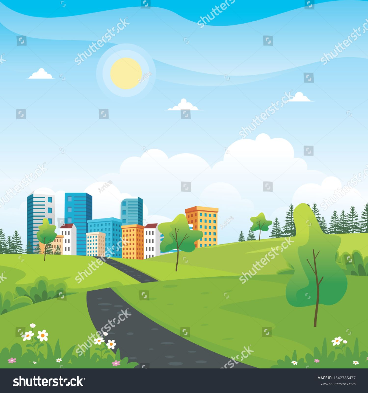 Summer City Park With Beautiful Scenery Landscape Vector Illustration Sponsored Affiliate Park Beautiful Summer City Park City Scenery Landscape