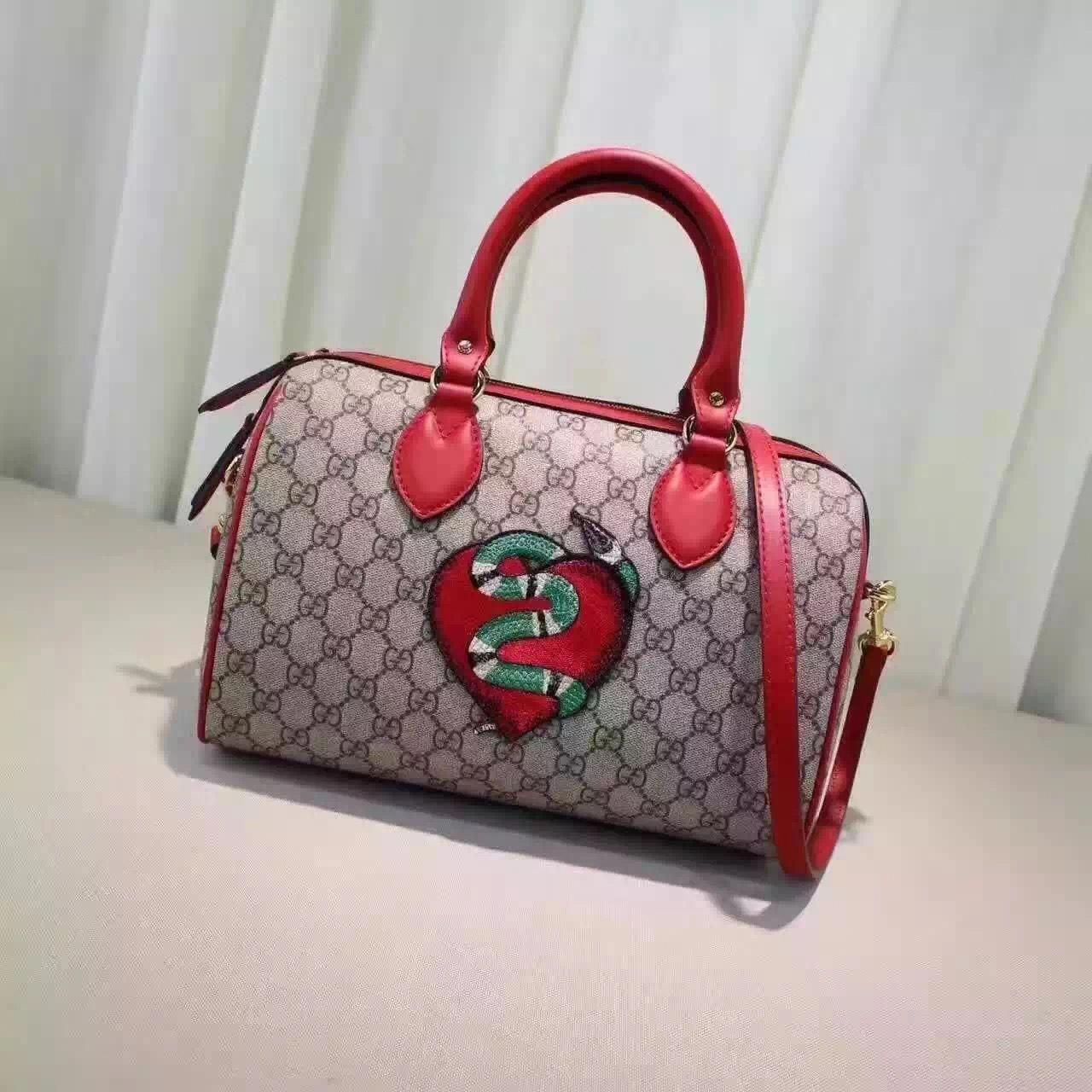 a746e5832ea Gucci Limited Edition GG Supreme Top Gandle Bag With Sneak Embroideries  409529 2016  Guccihandbags