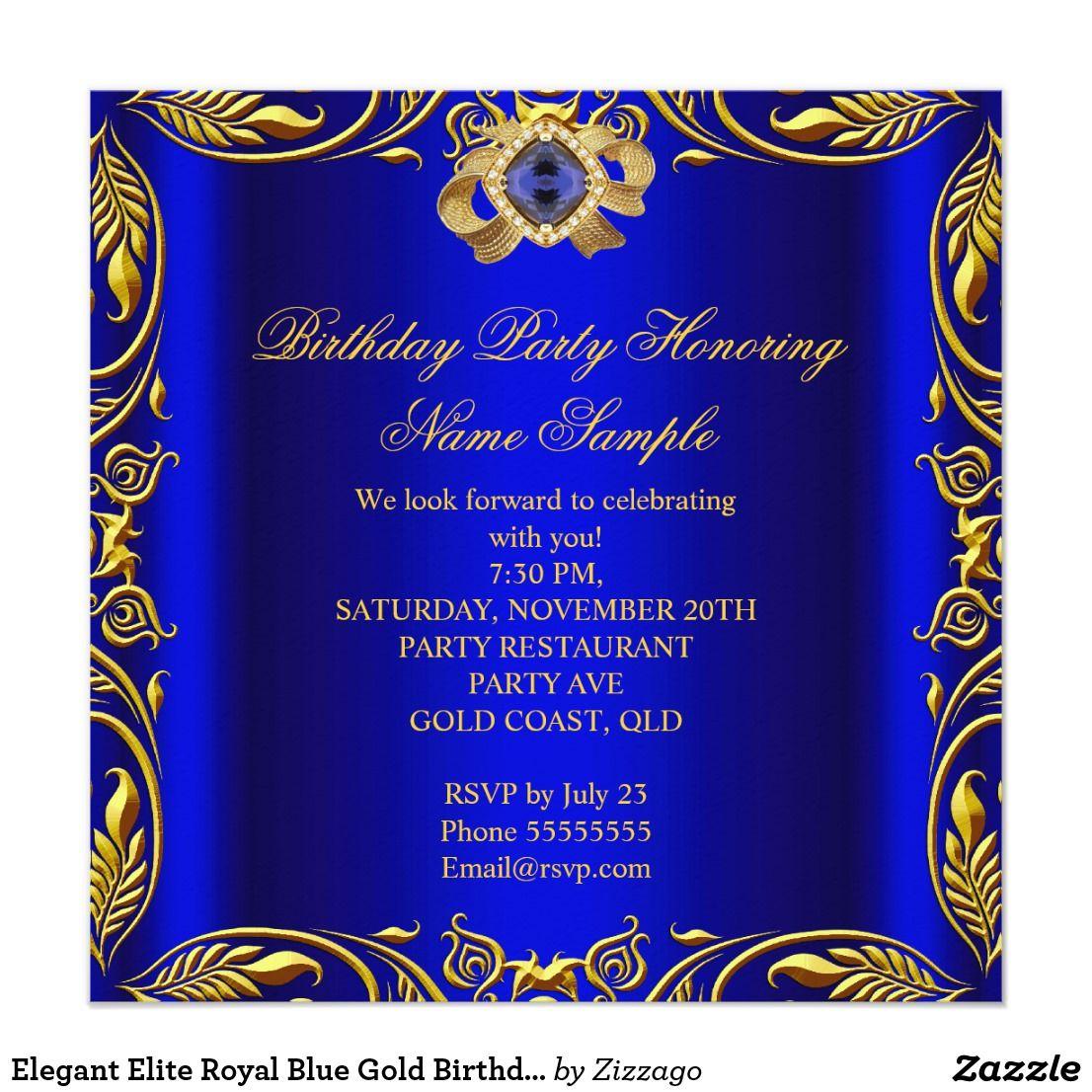 Elegant Elite Royal Blue Gold Birthday Party 2 Invitation | Zazzle.com |  Royal blue and gold, Purple and gold wedding, Gold birthday party