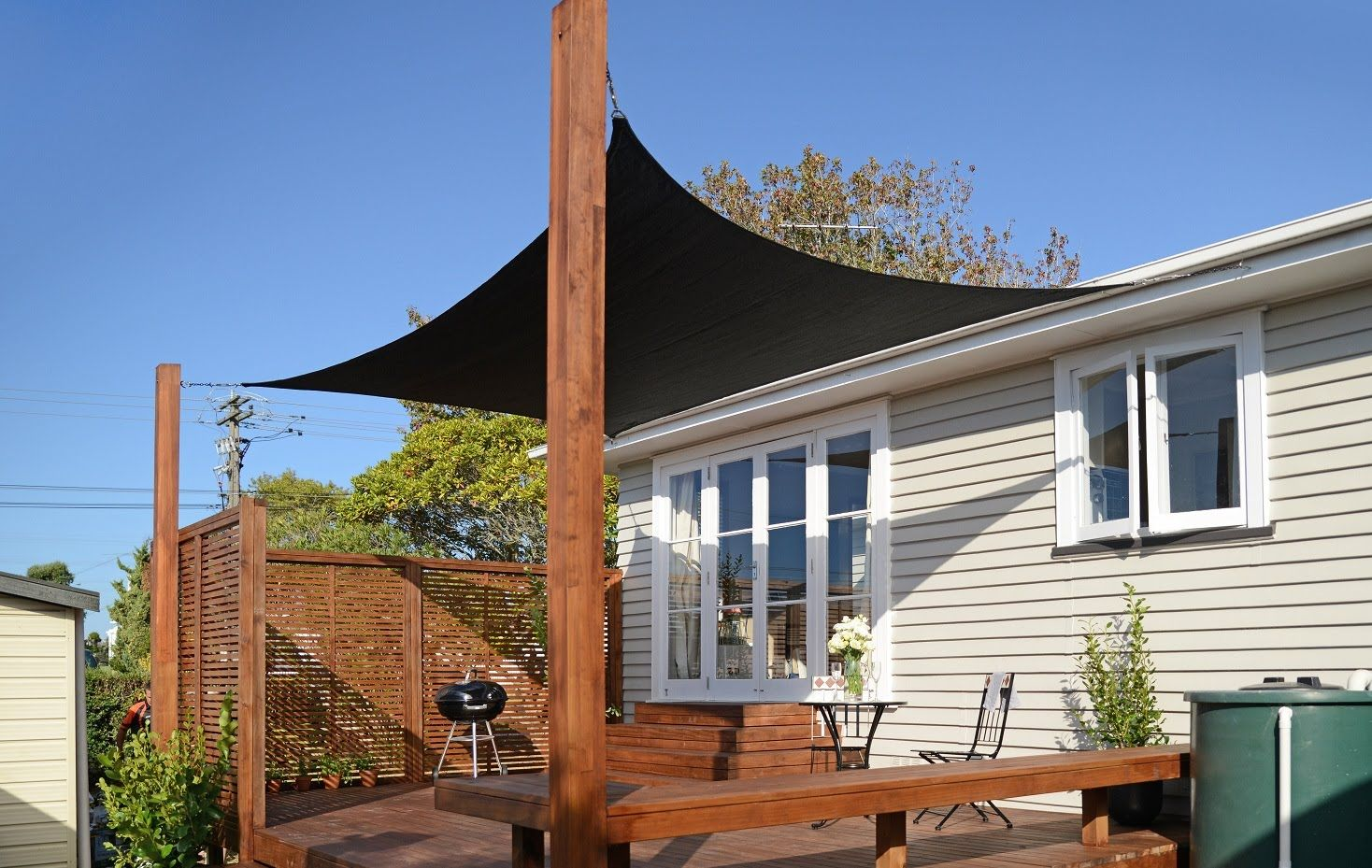 How To Put Up A Shade Sail Mitre 10 Easy As Backyard Shade Outdoor Shade Shade Sails Patio