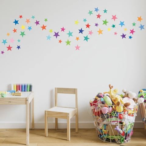 Wall Decals Stars Rainbow Colors Eco Friendly Fabric Removable Reusable Wall Stickers In 2020 Kids Wall Decor