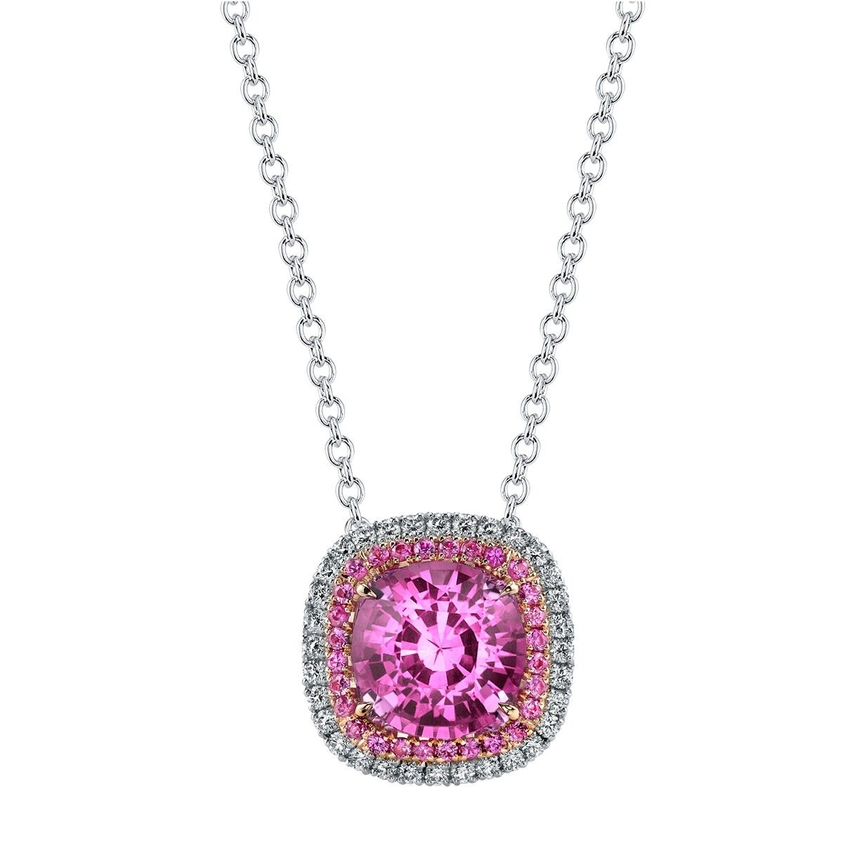 with necklace women p fashion round pink sapphire pendant diamond shop