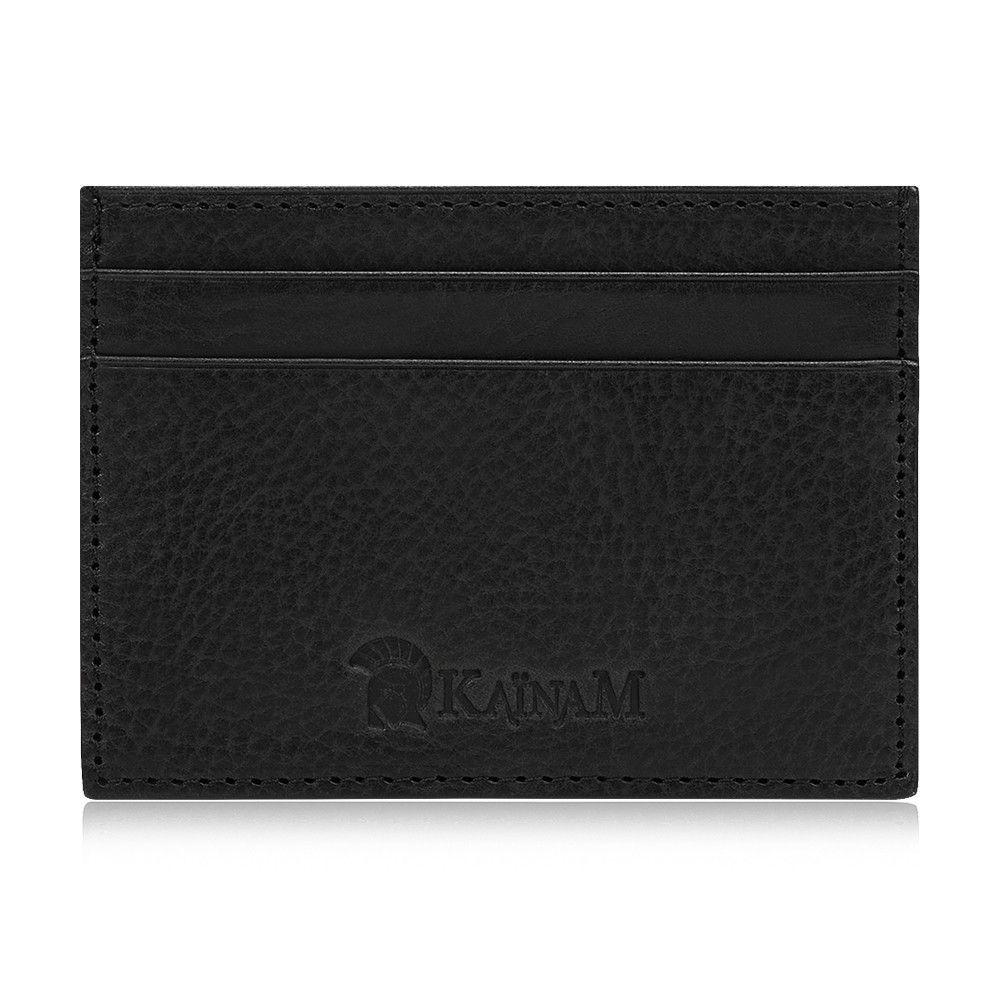 Black Italian Leather Slim Card Holder