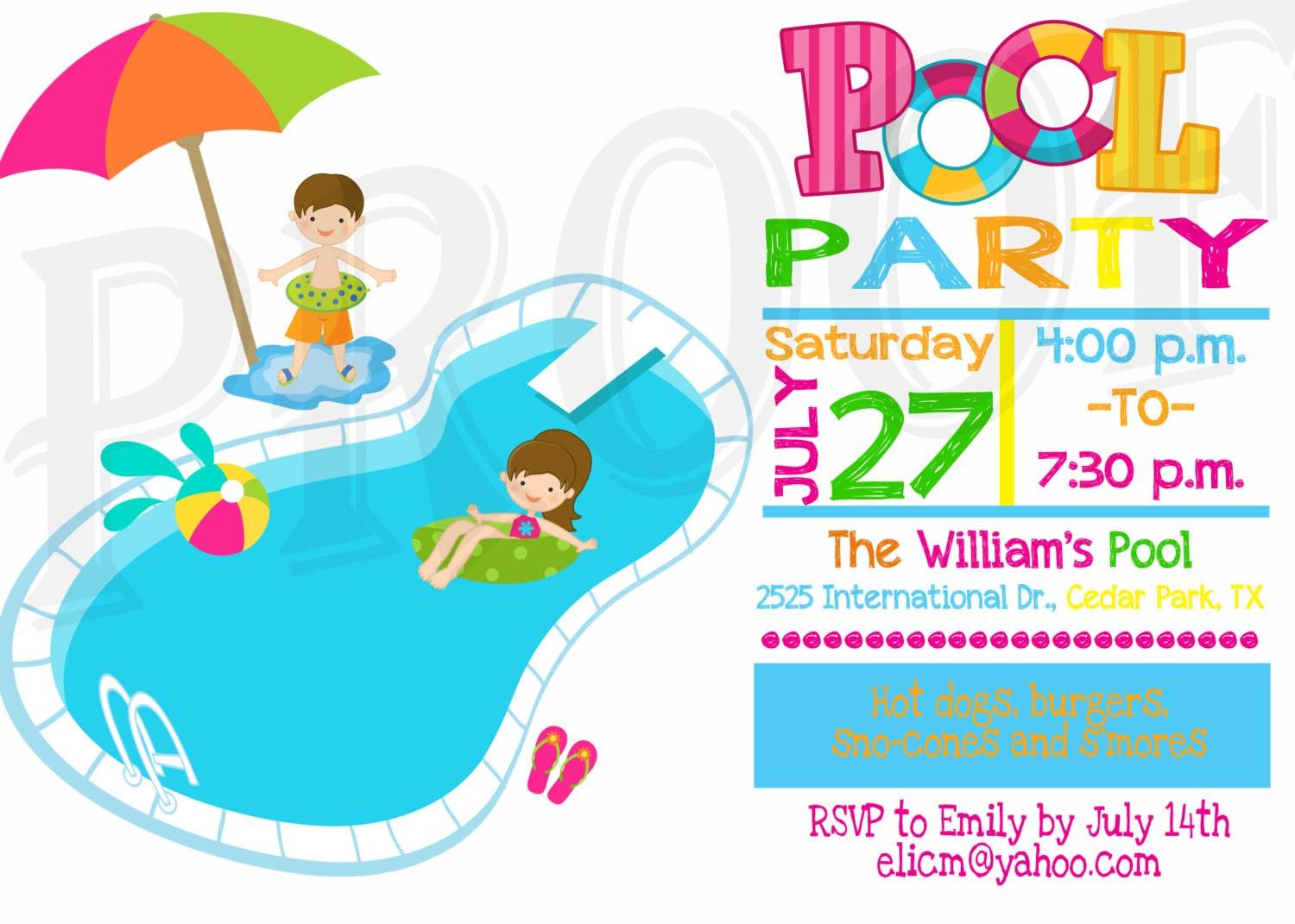 Kids Pool Party Invitation Pool Party Pinterest – Birthday Pool Party Invitation