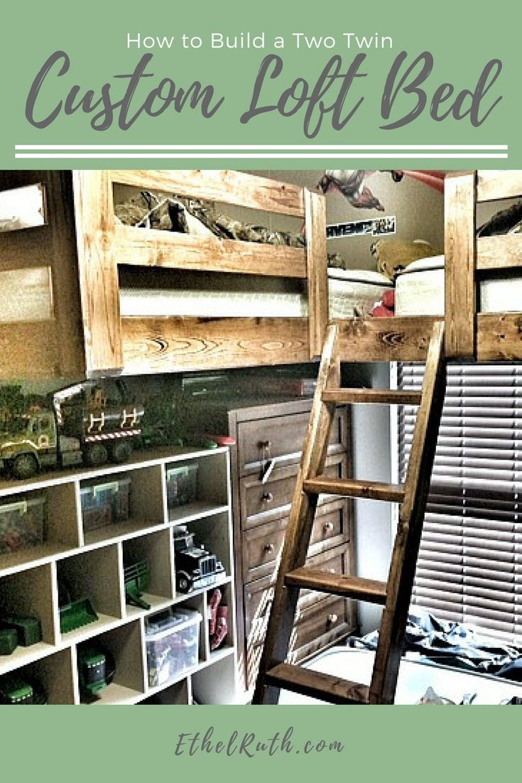 Two twin loft bed  How We Built A Two Twin Custom Loft Bed   Space saving bedroom