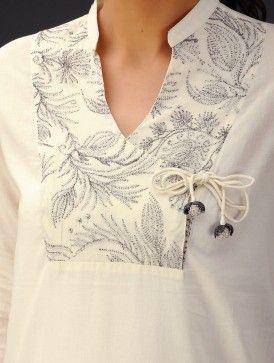 Cream Zari Embroidered Angrakha Yoke Cotton Voile Top - love the yoke and tie