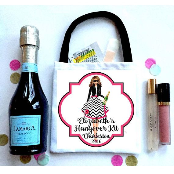 Champagne Party Hangover bags. Bachelorette Oh Shit Kits! Bachelorette or Bridesmaid Hangover Bag. Custom Wedding Gift Bag.