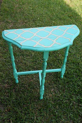 Chalk Paint U0026 Quatrefoil Vintage Half Moon Table | Junktiques