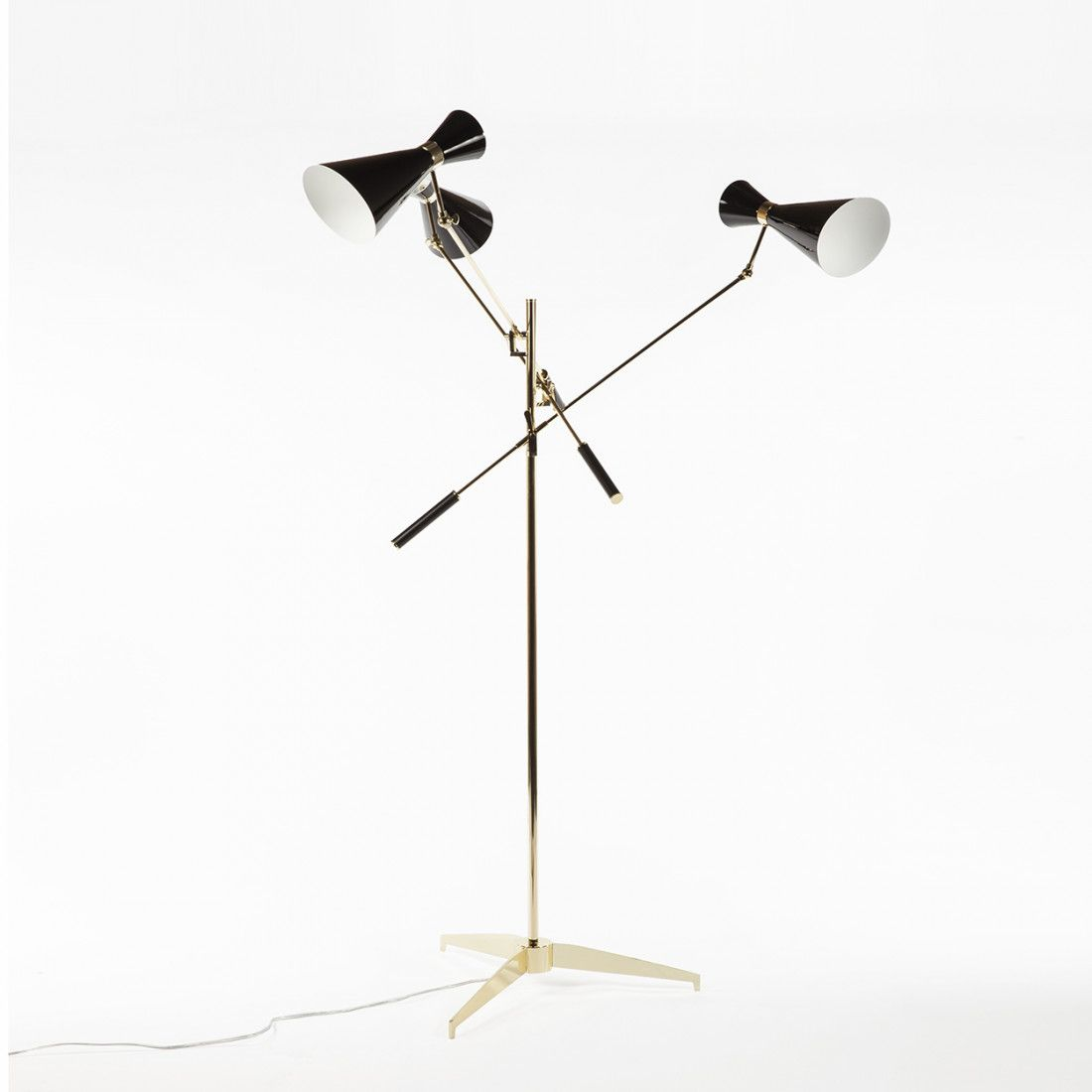 Modern reproduction triennale floor lamp three arms and double modern reproduction triennale floor lamp three arms and double cone shades gold inspired by audiocablefo