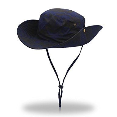 be72c937620 Jeelow Outdoor Sun Hats with Wind Lanyard Bucket Hat Fishing Cap Boonie for  Men Women Kids Review