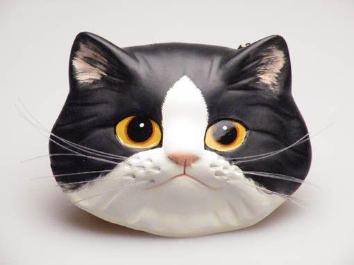 猫のお面(ペルシャ猫 白黒)