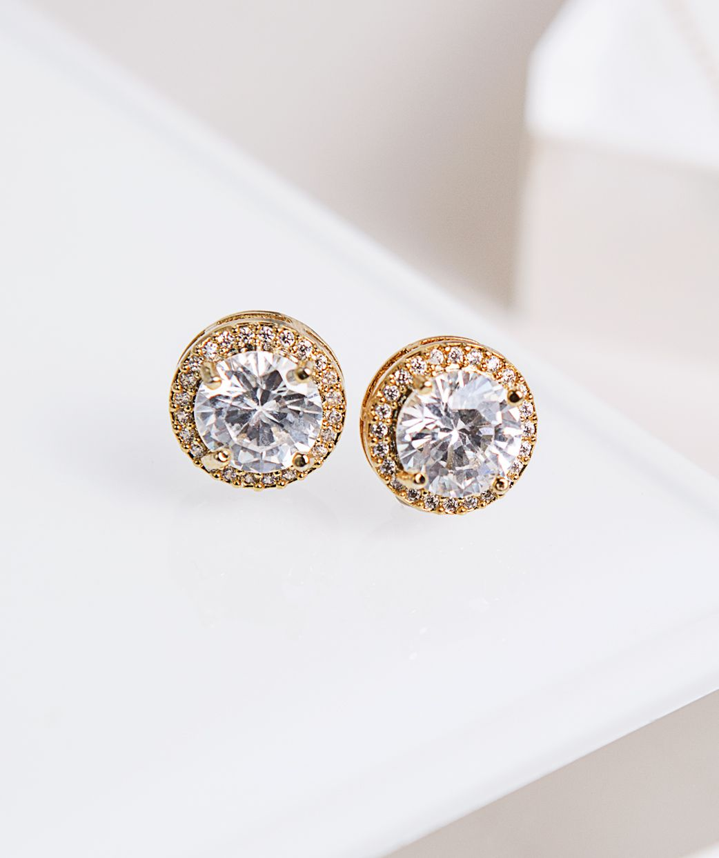 Wedding Stud Halo Earrings Minimalist Bridal Studs Minimal Cubic Zirconia  Crystal White Gold Wedding Earrings Crystal