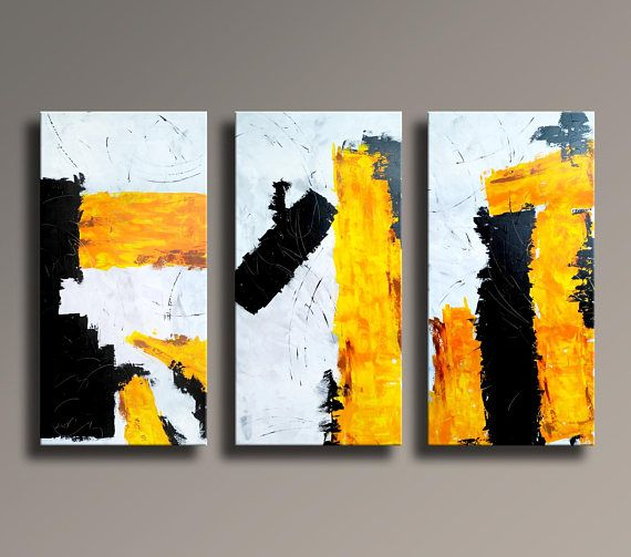 set of 3 original abstract acrylic painting extra large triptych black gray white yellow mustard. Black Bedroom Furniture Sets. Home Design Ideas