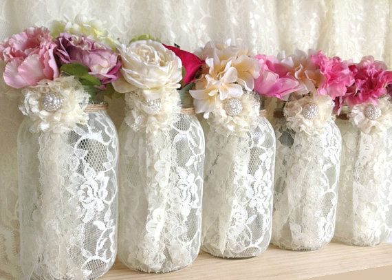 Ivory Lace Covered Ball Mason Jar Vases Wedding Or Bridal Shower Decoration