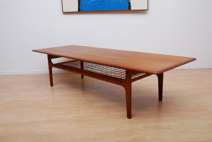 Trioh mobler long teak coffee table danish mid century modern mad man 68 l for the home Modern teak coffee table
