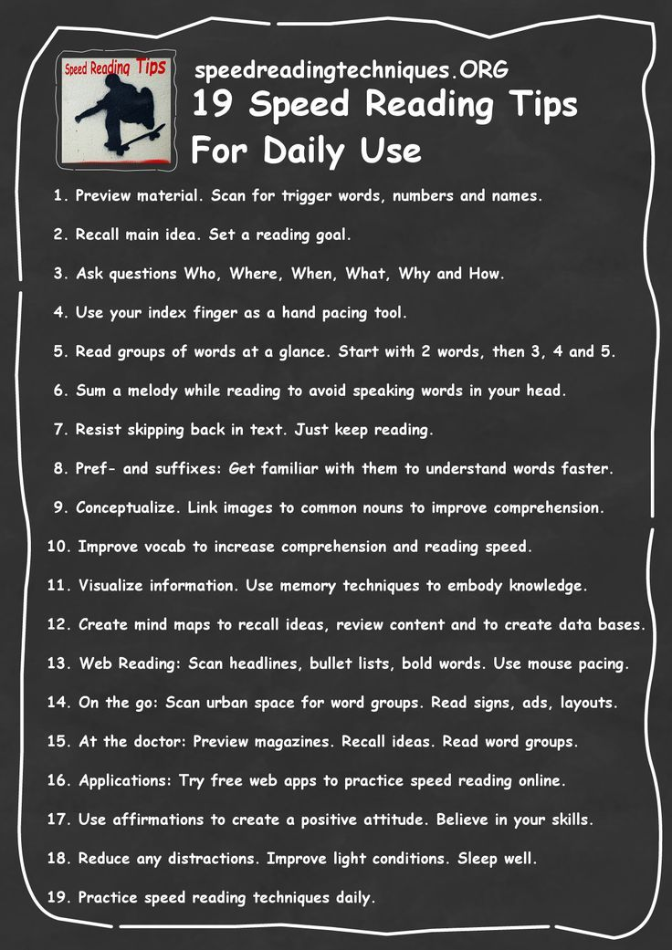 Speed Reading Tips For Daily Use Reading skills, Reading