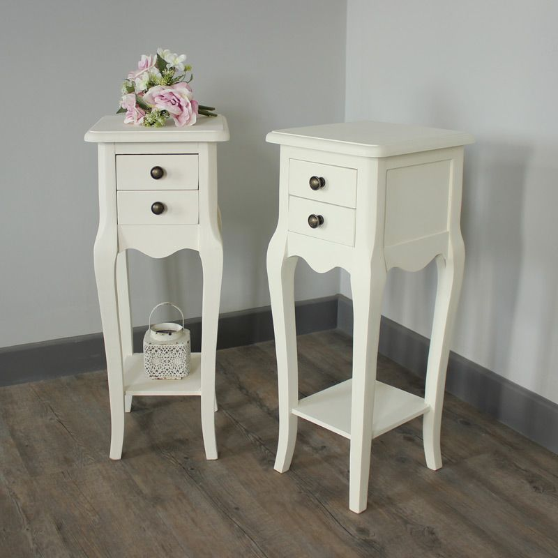 Pair Of Belgravia Range - Furniture Bundle Slim Cream 2 Drawer Bedside  Tables